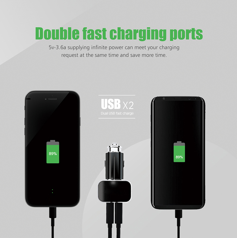 2018 hot selling dual ports 3.6A fast charging in Car Charger
