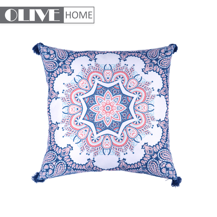 Unique Style Printed Waterproof Replacement Cushion Covers Outdoor Furniture With Tassels