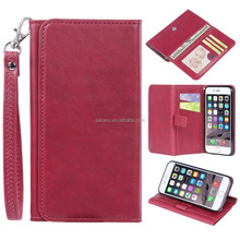 custom high quality real leather three foldings cellphone case card holder genuine leather