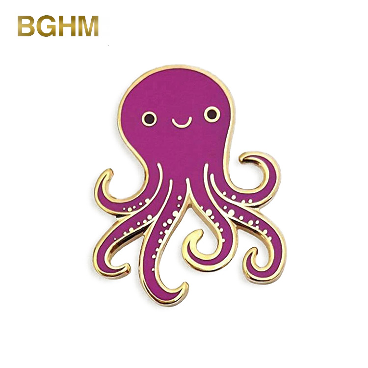 Custom Zinc Alloy Cute Purple Octopus Enamel Lapel Pin Badge