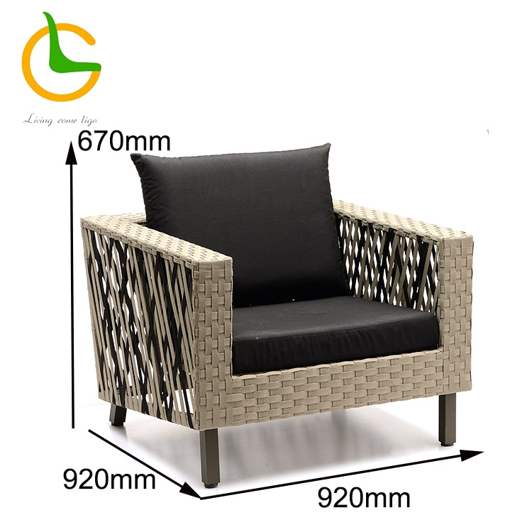 Italian style single seat rope woven garden furniture outdoor sofa