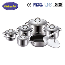 Unique design 12PCS Stainless Steel belly casserole set /Cooking Pot/Cookware Set