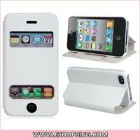 Smart Faux Leather Flip Case with Stand for iphone 4 4S White