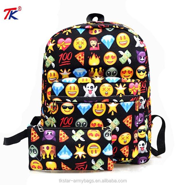 Emoji School Book Backpack Laptop Shoulder Bag Schoolbag Pencil Purse Cosmetic case