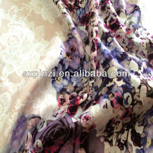 2014 new design of 32s cotton spandex sateen woven fabric 200g/sm digital printed lace and flower design purple color fabric for