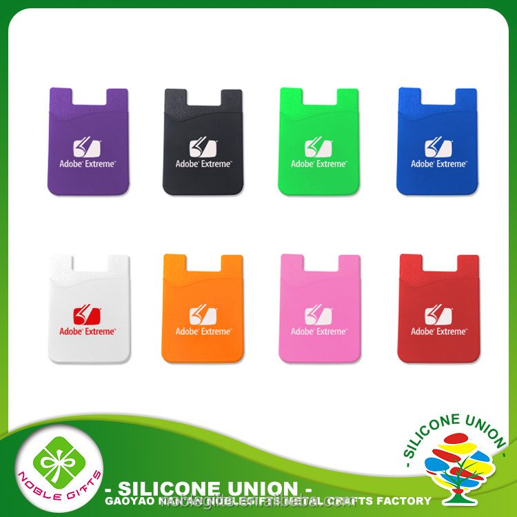 Free existing sample silicone mobile phone card wallet card holder