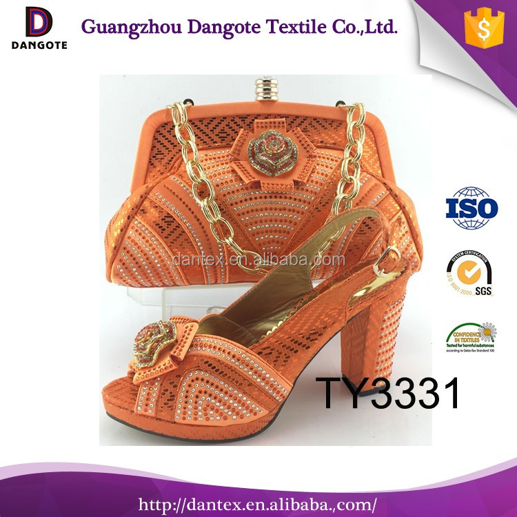 Pretty bruno giordano italian shoe and bag set / orange thick shoes and bag set for party TY3331