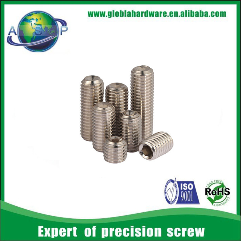 Ball point hex socket slotted set screw