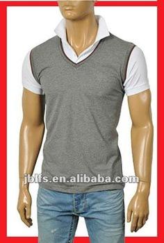 Fashion fold turttle v neck cotton grey polo shirts for for Stiff collar polo shirt