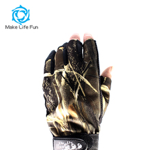 Good Quality waterproof Camo Fishing Hunting Elastic Gloves Wholesale