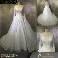 supply all kinds of long sleeve and long train wedding dress