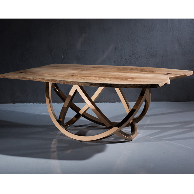 Half round design original stainless steel gold base wooden dining table for sale