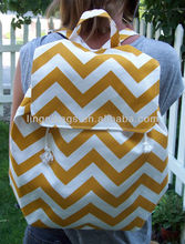 2013 gold and white chevron stripe printing canvas rucksack backpack for girls