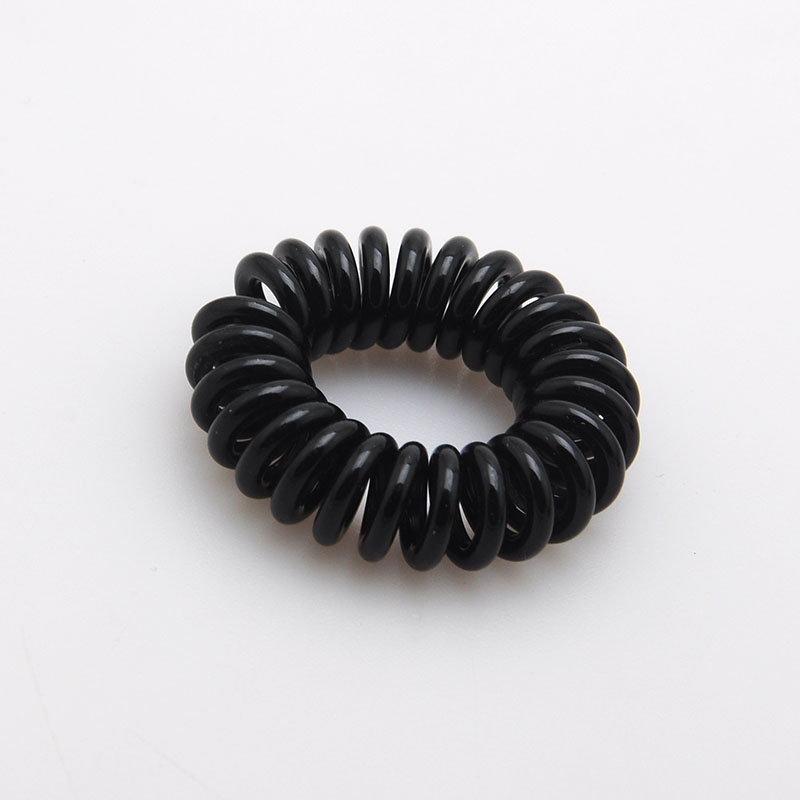 High Quality Hair Scrunchy Telephone Wire Elastic Hairbands Plastic Hair Accessory For Women in black Color