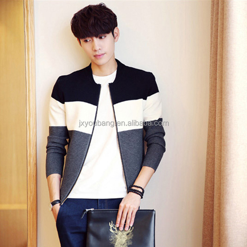 2017 hot sale western style cool boys autumn winter patchwork print zip sweater coat