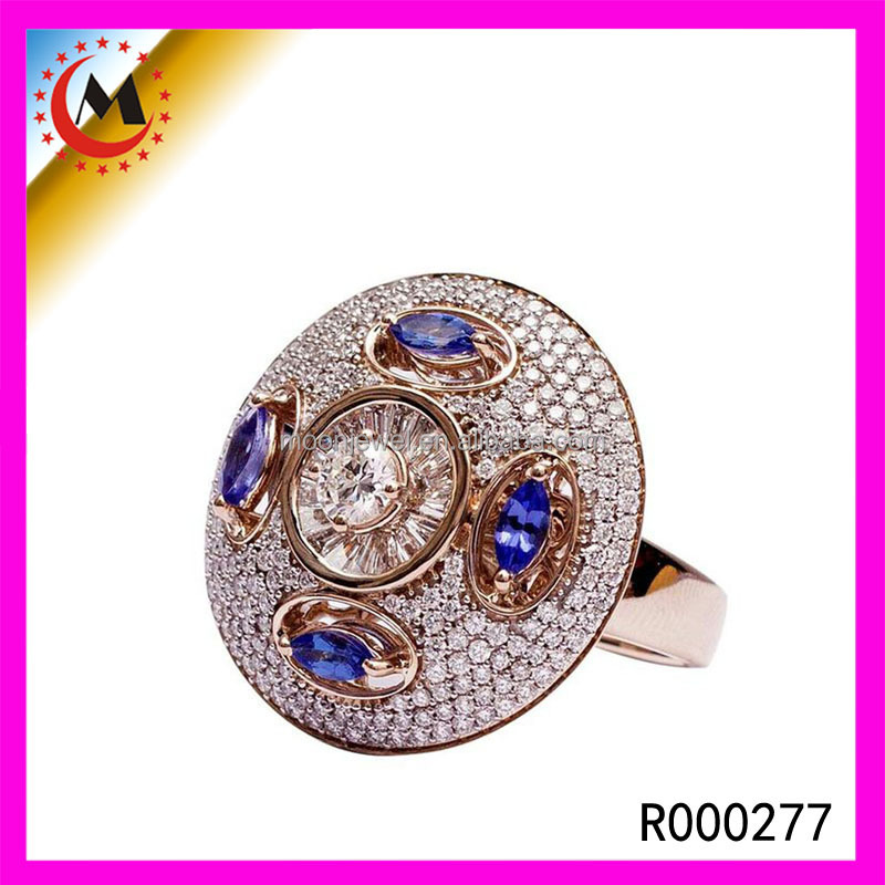Fashionable Promotion Gold CZ Girls Attractive Engagement Ring Wholesale