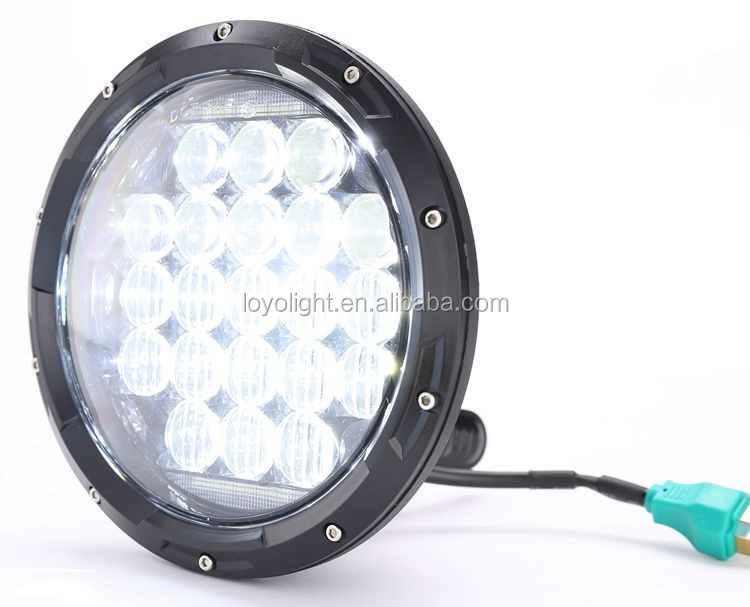 "New 5D 7"" inch 75w round led headlight for jeep high low beam with H4 adapter"