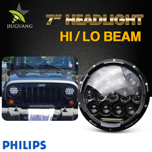 75W 7inch car Round LED Headlight with DRL Hi/Lo Beam for Jeep Wrangler Jk Tj