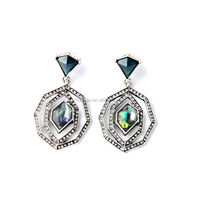 silver antique glass stone drop shell color multilayer dangling earring