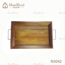 Golden manufacturer wood tray with metal handle