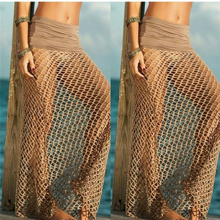 VVY07 Cheap Wholesale Hot Girl Sexy Woman Skirt Transparent Net Beach Long Skirt