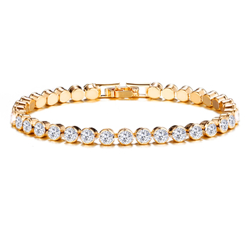 Hot Sale Rainbow Stones Fashion Jewelry Gold Plated White Crystal Women Tennis Bracelets