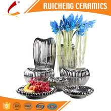 Modern Electroplating Ceramic Vase & Friut Bowl/plate for Home design