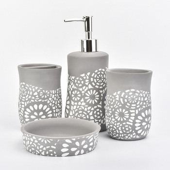 Concrete bathroom set gray color with white flower pattern, bathroom ware accessory 4 pieces