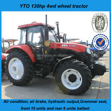 category two 3 point linkage famous henan YTO 1304 130hp large 4wd farm tractors