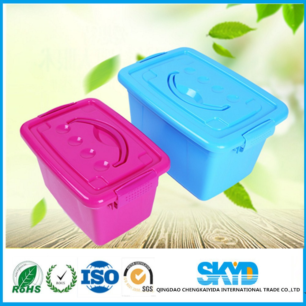 large plastic PP storage box with cover and handle for Finishing sundry