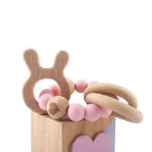 2018 New Arrival Bunny Ears Silicone Baby Teething Toys Wooden Teethers For Infant