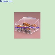 Food grade transparent acrylic display box with hinged lid for cake