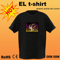 HOT!!! Electro-Luminescent Led Shirt With Music Activated Visual Acoustic Colorful Led T Shirt