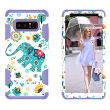 3D Animal Phone Raised Lip Design Water Transfer Printing PC Silicone Armor Case For Samsung Galaxy Note 8