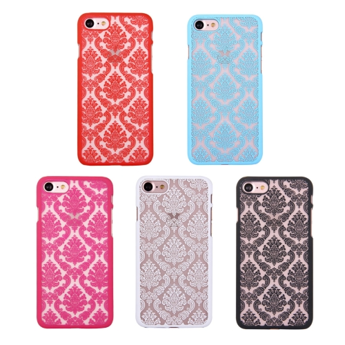 For iPhone 7 Embossed Flowers Pattern Plastic Protective Case(Black)