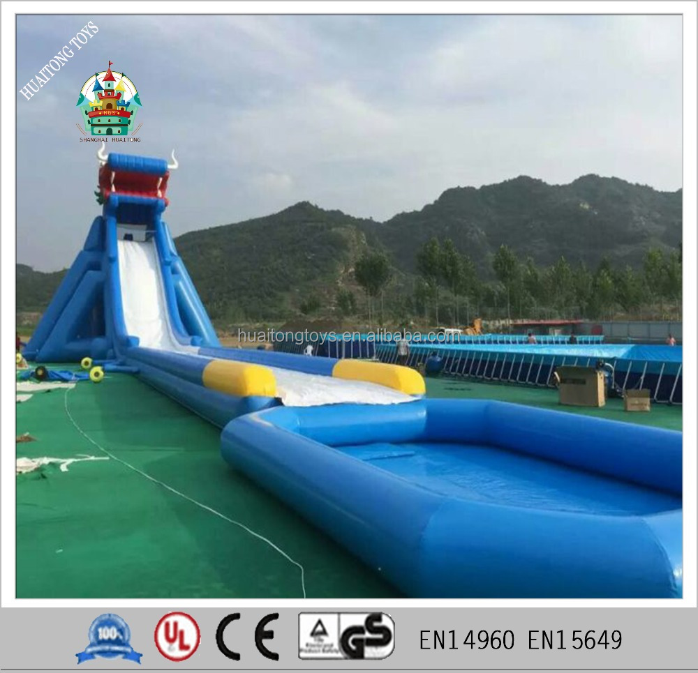 54m length inflatable dragon water slide with air pool for adult and kids