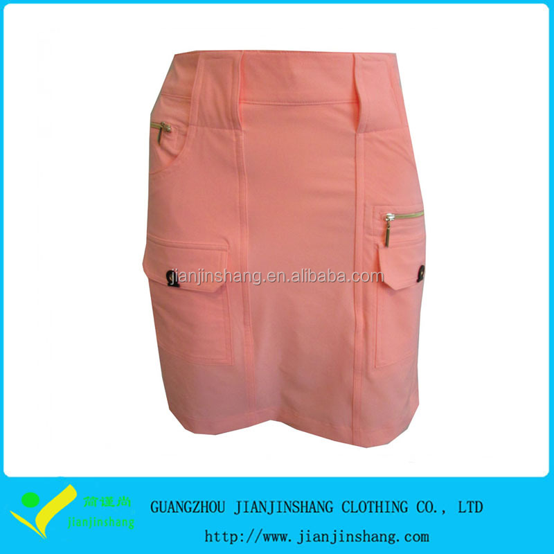 Newest OEM Embroidery Pocketed Women's Golf Skorts In Pink