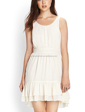 CHEFON Classic ruffled plus size white party dress