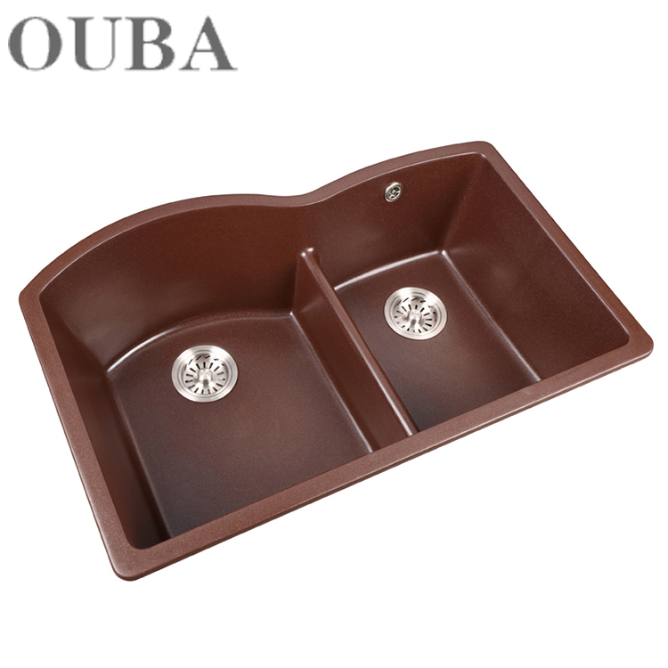 Overflow Hole Kitchen Furniture With Artificial Quartz Stone Washing Sink For Home Use