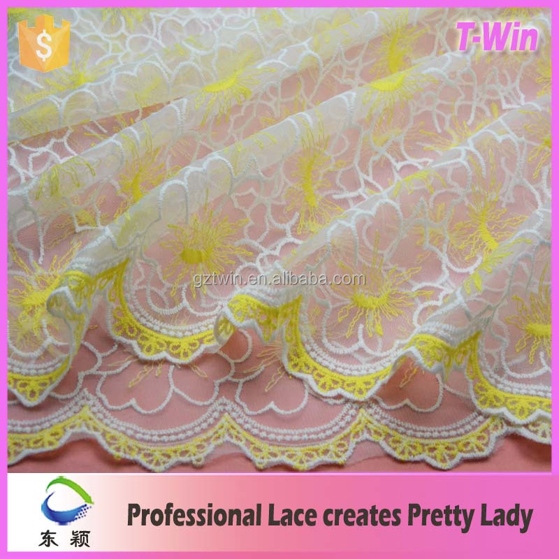 2016 yellowish voile base plain lace types of laces for garments