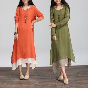 2016 spring 100 cotton islamic clothing cotton dress original women's literary loose big size long sleeve dress