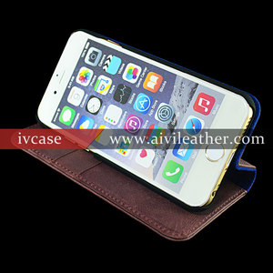 2015 New Premium Genuine Leather Mobile Phone Stands Housing For Iphone 6s Leather Case
