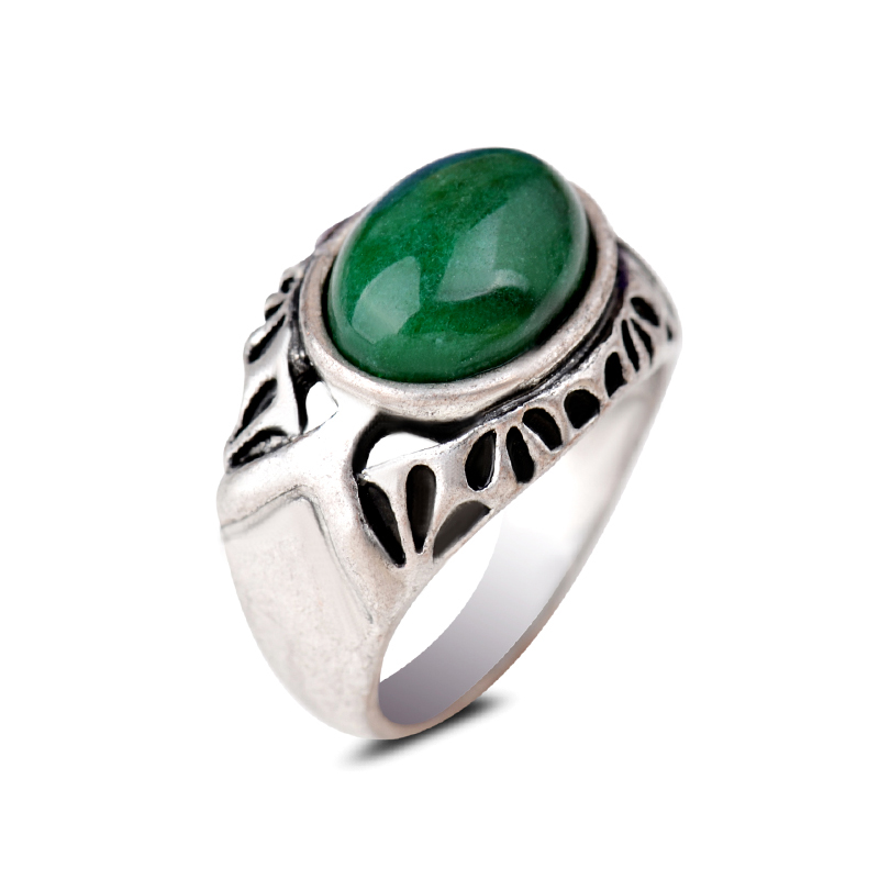 Brilliant Silver Vintage Ring Jewelries Oval Green Jade Natural Emerald Solitaire Ring Bands For Women And Men