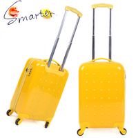 Lightweight ABS Yellow Travel Luggage, ABS+PC Film Suitcase