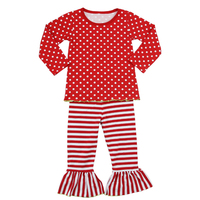 wholesale girls boutique christmas outfits baby winter clothes long sleeves toddler clothing set