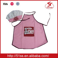 Wholesale cotton kitchen uniform kids aprons and chef hat