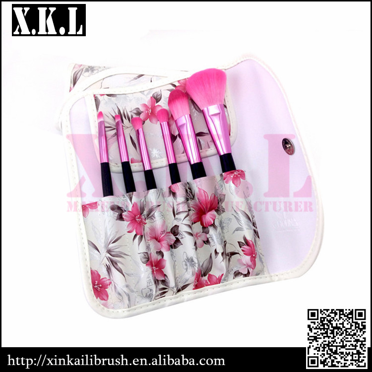6pcs Factory price custom logo makeup brushes with cosmetic case