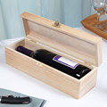 unfinished pine wood wine box for single bottle with lid