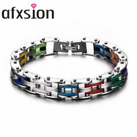 AFXSION popular New arrival mens bicycle silicone and stainless steel rainbow motorcycle bracelet