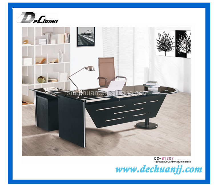 Popular Executive Round Shaped Office Glass Chrome Desks